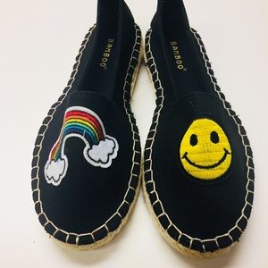 Black cotton canvas flat espadrilles with patches